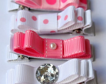 Belle's Bows - Princess collection. Pink, white sparkles. set of six girls hair bows. Hair clip set. sparkles, pearls PINK
