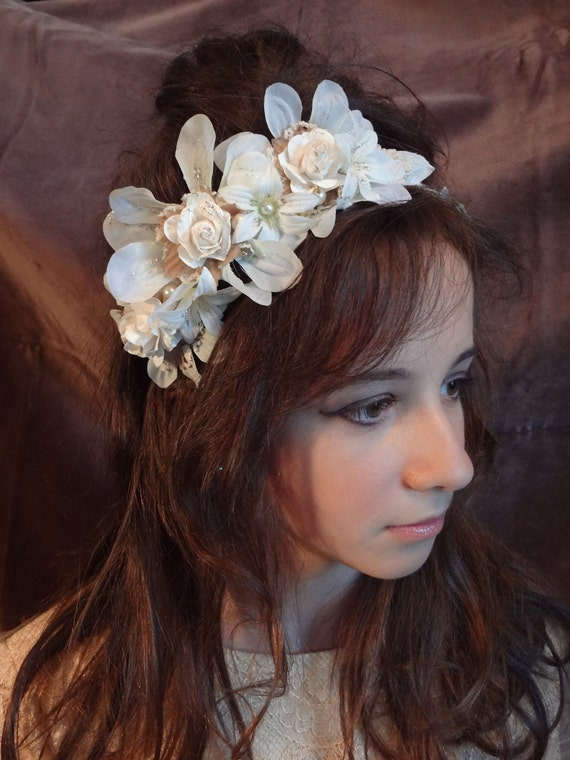 White Rose, Lace and Pearl Bridal Headband / Etienne
