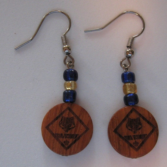 cub scouts earrings blue and gold