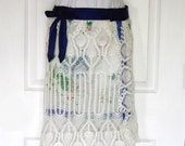 Boho Wrap Skirt, Reversible, Vintage Upcycled Crochet Lace, Re-purposed Needlework