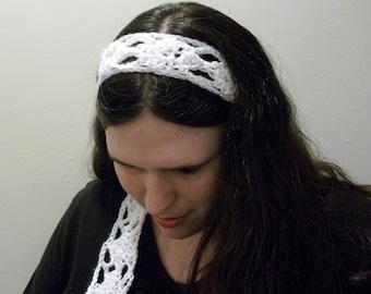 Summer PDF Crochet Pattern: Headband Pattern Hair Scarf Pattern With Diamond Shapes Skinny Scarf