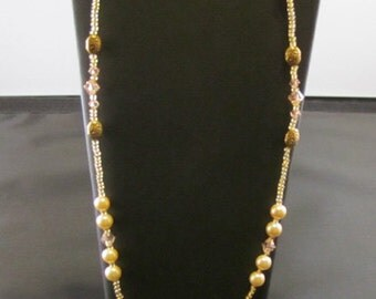 Cream Pearl, Crystal and Gold-Plated Beaded Necklace
