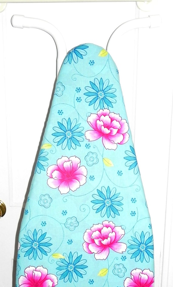 Ironing Board Cover - Tropical flowers in turquoise and pink