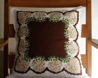 Handmade Pillow Cover, Mother's Day Gift, Easter Gift, Hostess Gift, Hanky Pillow, Autumn Decoration, Fall Colors, Chocolate Brown
