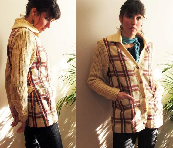Vintage 60s Cardigan Sweater, Irish Tweed Jacket,  Cream Plaid Sweater