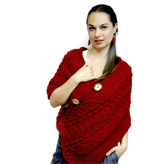 Made to Order: Red Poncho, Red Hand Knit Wool Cape Shrug Poncho, Hand Knitted Poncho of Quality, Luxury Knit Accessories by Solandia, custom