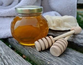 Antibiotic Free Natural Raw Honey & Wooden Dippers Set
