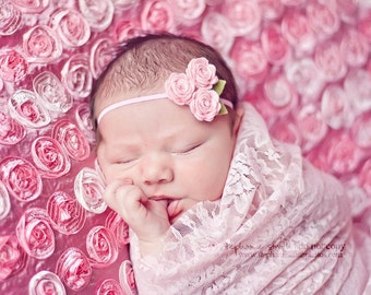 Pink Baby Headbands - Pink Felt Flower Rose Bouquet - Newborn Baby to Adult