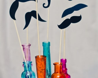 Moustaches on a Stick - Set of 6 Photo Booth Props