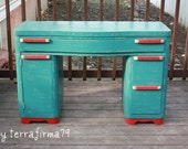 Mid Century Modern DESK, Teal with a Cherry Red POP/ Upcycled, painted, distressed