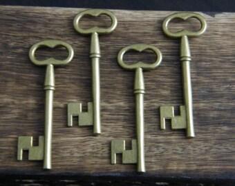 Woolf - 10 x Antique Bronze Brass Skeleton Key Large Vintage Keys