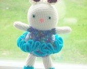 14 inch Ballerina Bunny - Turquoise and Purple Accents - Large Bright Eyed Amigurumi Bunny Doll Perfect for Easter