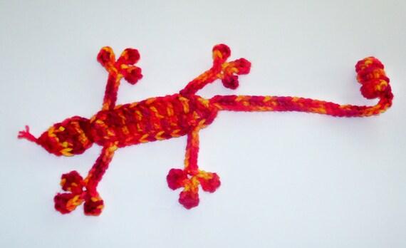 Squished Lizard Bookmark - Hand Crocheted Whimsical Bookmark - Sunshine Multi