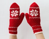 Red and White Soft Wool Mittens Fair Isle Snowflake Gift for Her Gift for Him - HappyLaika