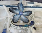 Blue Seashell Ornament with Periwinkle Center