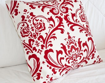 Decorative Pillow - Handmade Throw Pillow - Accent Pillow Cover - Decorative Accent Pillow 16x16 in Graphic Red and Cream Damask Print