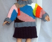 18 Inch Doll Patchwork Set - Sweater and Skirt Set - Matches Child Sweater - Girl Doll Clothes - Item 3054