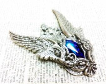 Vasilia (Silver/Purple) Aged silver plated brass filigree pendant Fantasy mythology jewelry Vintage victorian steampunk gothic