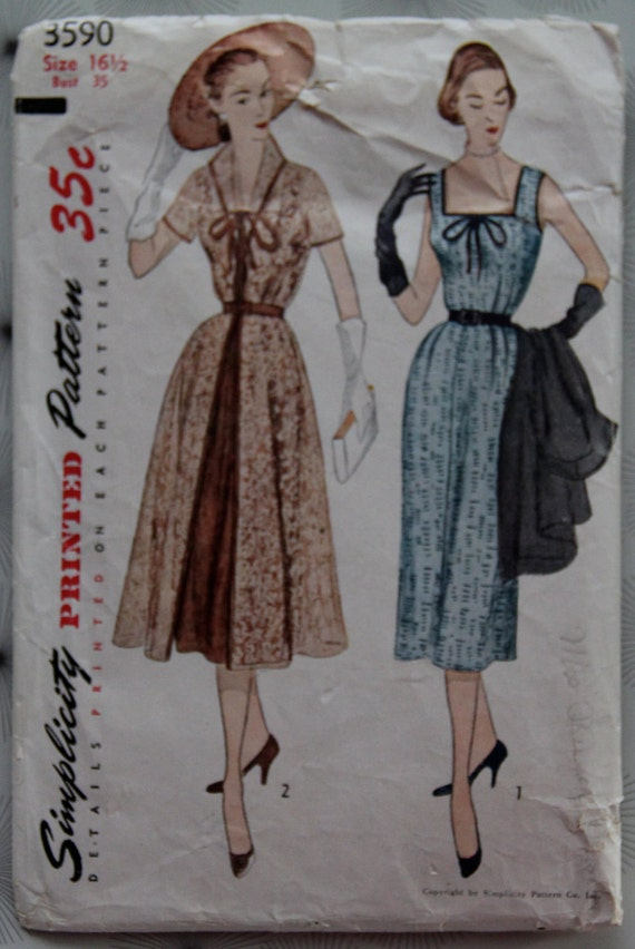 1950s Dress Pattern Simplicity 3590 Half Size Pattern Sleeveless Dress Square Neckline and Pleated Skirt Coat with Pleated Waistline Bust 3
