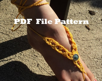 Crochet PATTERN - Sungold Barefoot Sandals