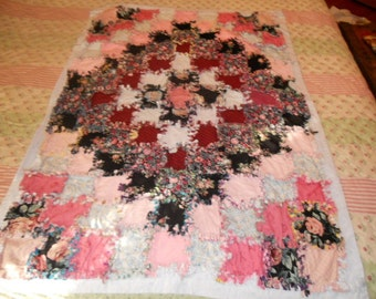 Rag throw - Quilt Reversible Patchwork Style