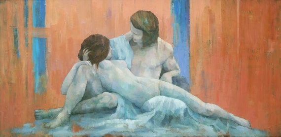 Acis & Galatea, Couple Figure Painting, Signed Giclee Art Print 20x10 inches