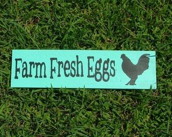 Farm Fresh Eggs Wooden Sign (Caribbean Blue - Green)