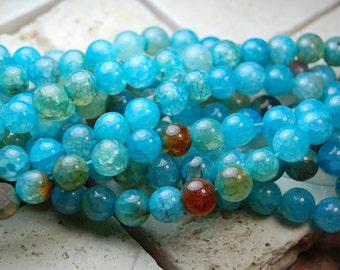 6mm Dragon Veins Agate Round Beads in Teal Blue -15 inch strand