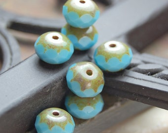 Czech Glass Beads Picasso Puffed Puddle Blue Rondelles 9x14mm- 10
