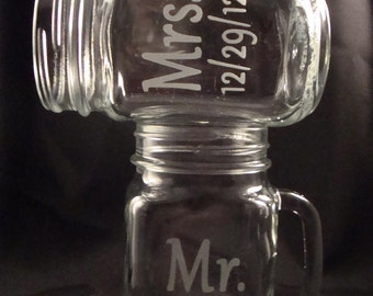 Etched Personalized Glassware - Mason Jar Mugs - Rustic Redneck Wine Glass - Mrs and Mrs Glasses - Gift for the Couple
