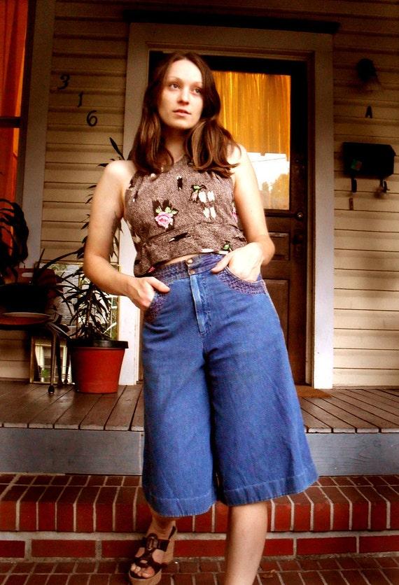 Vintage Denim Gaucho Jean Culottes High Waist Wide Leg 1970s Hippie Jeans Skort small medium