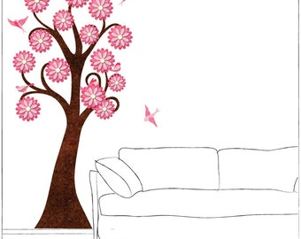 Pink Flowering Tree and Birds Wall Decals for Girls Room Wall Mural (stk1084p)