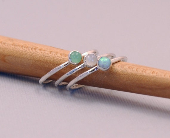 Stacking Rings (3) ,Thin Silver Rings, Silver Jewelry, Bezel, Opal, Moonstone, Chrysophrase, Silver Ring Collection, Delicate Rings