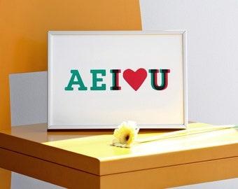 AEI love U. Romantic screen print - Valentines day print. 8.3 x 11.7 (A4)