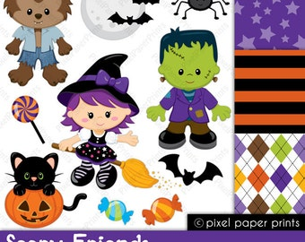 Scary Friends - Halloween - Clip art and Digital paper set