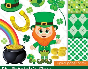 St. Patrick's Day - Digital paper and clip art set