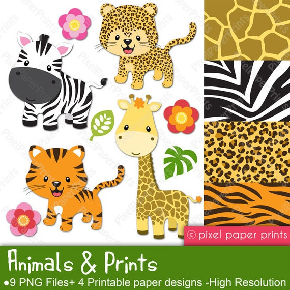 Animals and Prints - Clipart and Digital paper set - Leopard, Tiger, Giraffe, Zebra