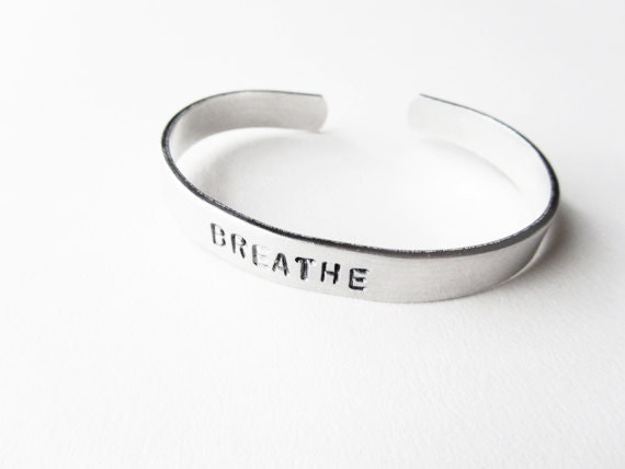 Breathe bracelet hand stamped metal cuff - yoga jewlery, handmade jewelry, yoga