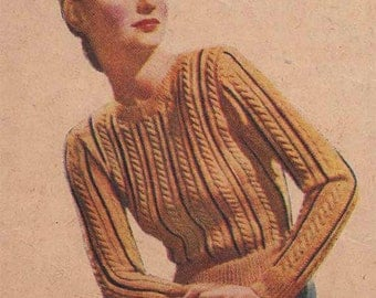 1940s Fitted Cable Sweater VINTAGE KNITTING PATTERN, Retro, Rockabilly, Swing Era Pinup Cable Top, Instant Pdf from GrannyTakesATrip   0096