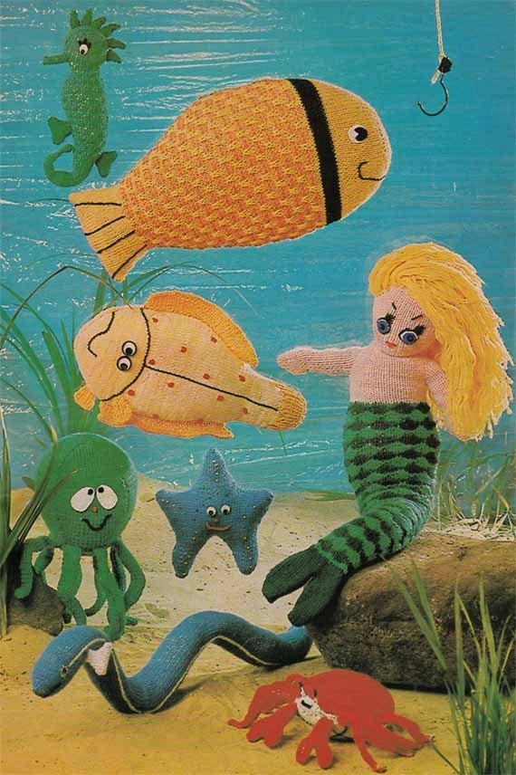 1960s/70s Cuddly Toys VINTAGE KNIT PATTERN Mermaid/Fish/Seahorse Seaside Soft Toys/Amigurumi, Sea Creatures, Pdf from GrannyTakesATrip 0070