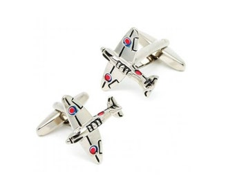 Airplane Cufflinks - Groomsmen Gift - Men's Jewelry - Gift Box Included