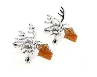 Deer Cufflinks - Groomsmen Gift - Men's Jewelry - Gift Box Included