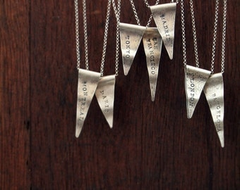 RESERVED FOR JEN sterling silver necklace, personalized necklace, travel, charm necklace, pennant necklace, state necklace