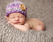 Purple Baby beanie with Wood Button (available in sizes, nb, 1-3mos, 3-6mos, 6-12mos)
