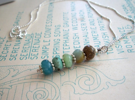 Land and Sea - scenic jasper, amazonite and moss opal necklace pendant