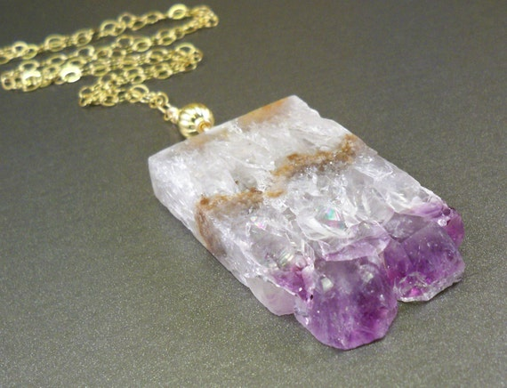 Amethyst druzy necklace: gold filled natural drusy amethyst, big stalactite slice necklace, gemstone jewelry naturelook