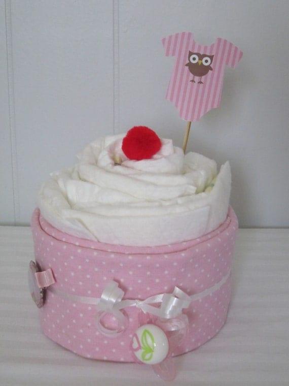Oversized Diaper Cupcake Baby Girl Owl and Cupcake Theme