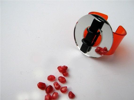 Reflecting BANGLE, Orange Cuff, Unique, Versatile, Statement Resin