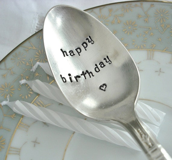 Vintage Silver Plated Hand Stamped Teaspoon - happy birthday - Customize handle with birthday date