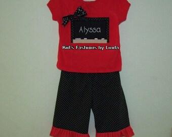 School Red/Black Dot Tshirt and Capri or Pant Set